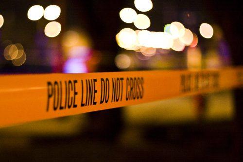 police line in violent crime